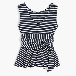| J. Crew | NWT tie waist striped peplum tank top